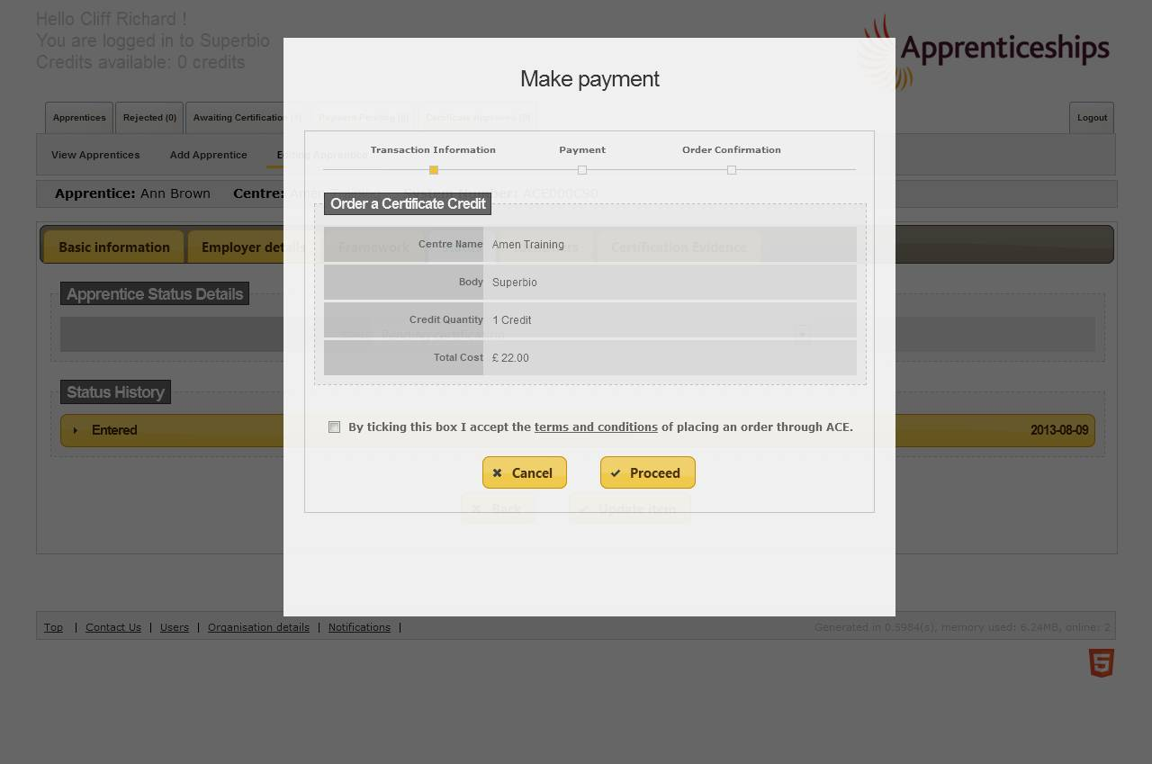 payment pop up