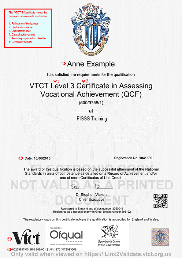 VTCT E-Certificate | ACE - Website