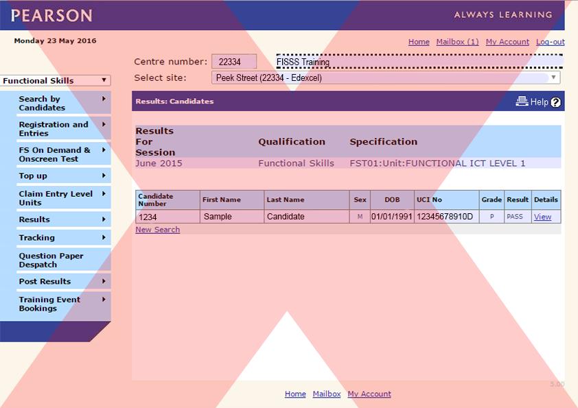 Pearson Screenshot – Unacceptabe   ACE - Website