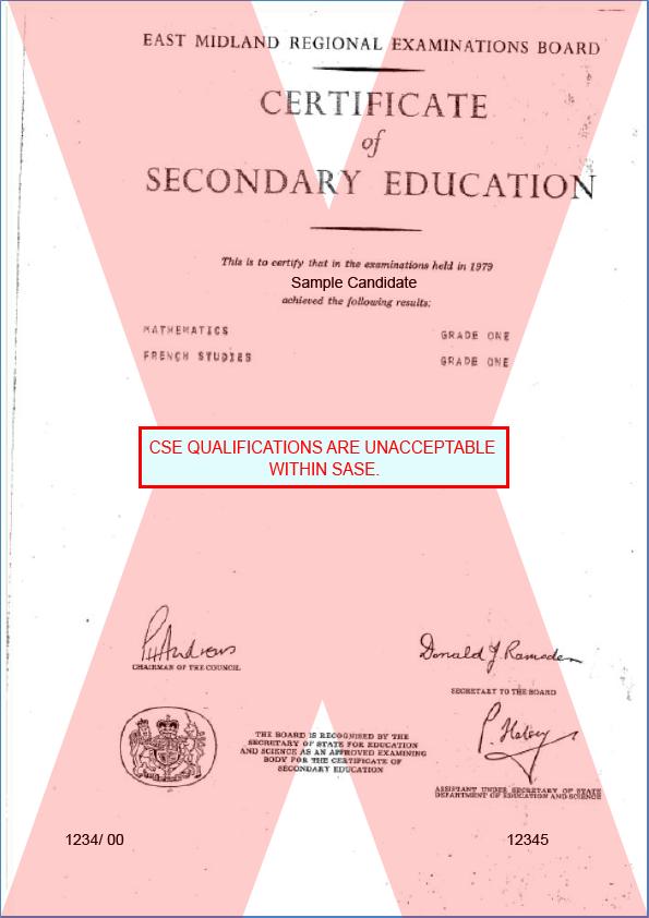 Cse Certificate Unacceptable Ace Website