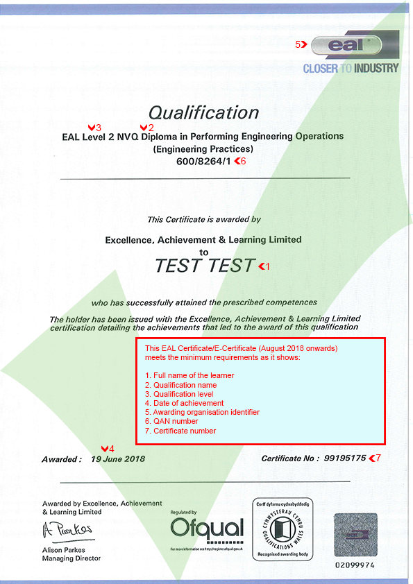 Eal Updated Certificate August 2018 Onwards Ace Website